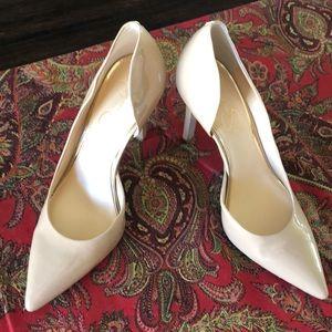 Jessica Simpson Claudette Nude Patent Heels